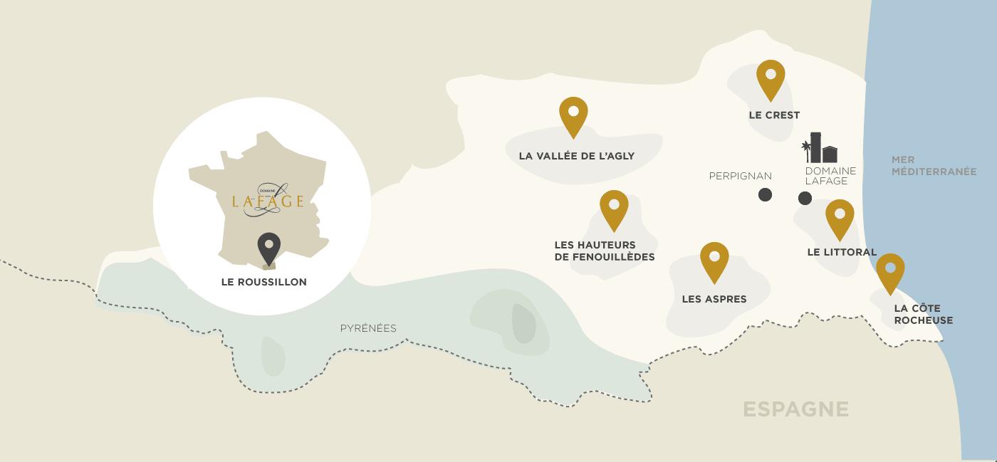 Les terroirs du domaine Lafage dans le Roussillon