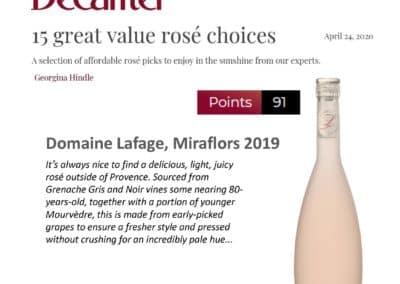 April 2020 – 91 points for Miraflors Rosé