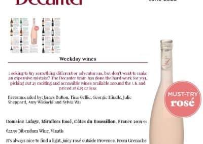 June 2020- Miraflors : Decanter Must Try Rosé !