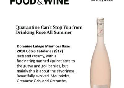 May 2020 – Miraflors Rosé – Food & Wine