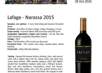 October 2020 – Narassa – Tasted Online
