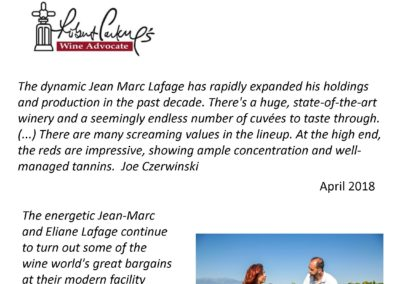 2020 – Domaine Lafage by Wine Advocate