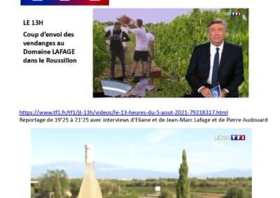 Août 2021 : Coup d'envoi des vendanges au 13h de TF1 !